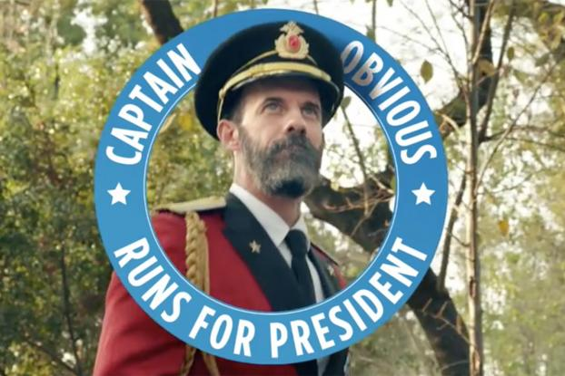 hotels com spokesguy captain obvious joins the presidential race adage